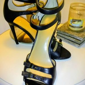 Anne Taylor Shoes - Anne Taylor Georgiana Blk Leather Lux Strappy Heel